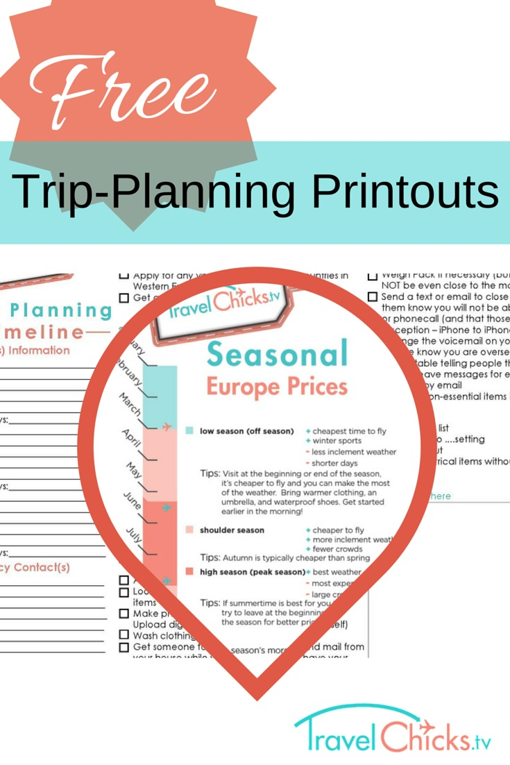 Free downloadable trip planning printouts travel chicks for Planning tools